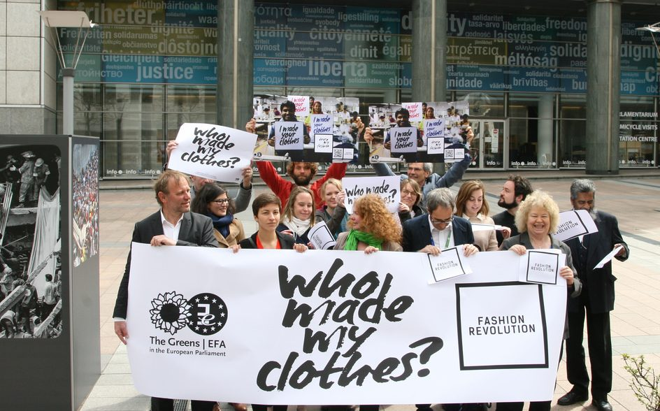 Fashion Revolution activists with #WhoMadeMyClothes posters and banners