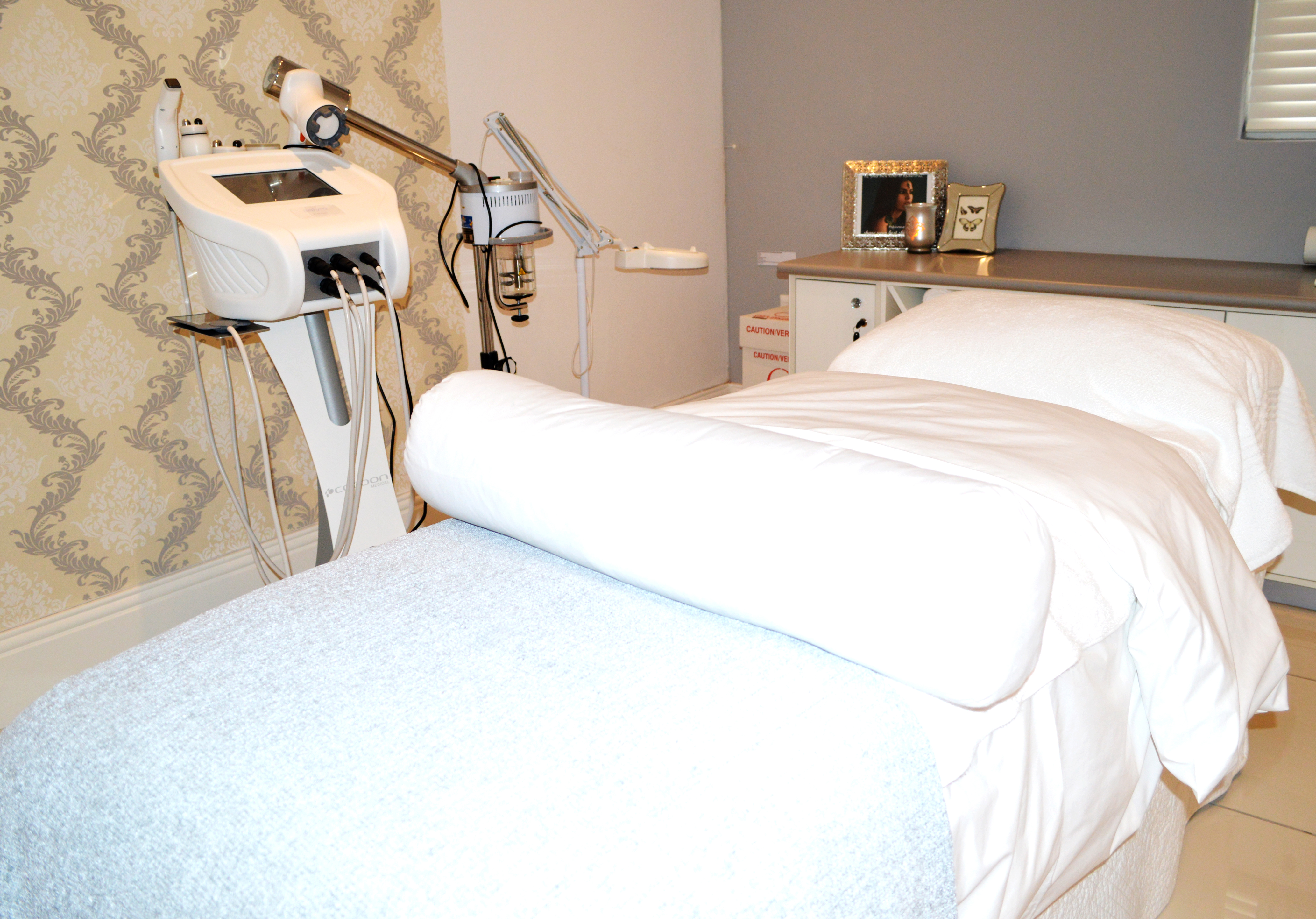 A bolster for under my knees and fresh, plush cotton sheets - perfect setting for a fabulous facial. Picture: Meneesha Govender