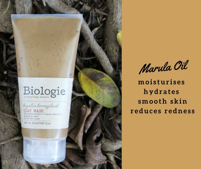 A key ingredient found in the Kigelia Honeybush Clay Mask is marula oil.